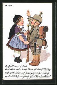 Künstler-AK P. O. Engelhard (P.O.E.): Junger Soldat verabschiedet sich von seiner kleinen Freundin