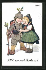 Künstler-AK P. O. Engelhard (P.O.E.): Mädchen betrachtet stolz den jungen Soldaten mit Pickelhaube und Eisernem Kreuz