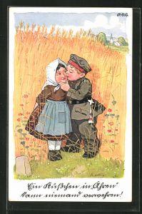 Künstler-AK P. O. Engelhard (P.O.E.): Junger Soldat küsst sein Mädchen im Weizenfeld
