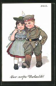 Künstler-AK P. O. Engelhard (P.O.E.): Junger Soldat mit seiner Liebsten auf Urlaub