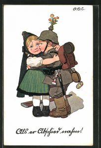 Künstler-AK P. O. Engelhard (P.O.E.): Junger Soldat verabschiedet sich von seiner weinenden Freundin