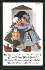 Künstler-AK P. O. Engelhard (P.O.E.): Junger Soldat küsst sein Mädchen am Wachhäuschen