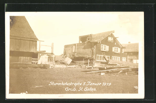 Foto-AK Grub, Sturmkatatrophe 5. Januar 1919, zerstörtes Haus