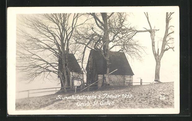 Foto-AK Grub, Sturmkatatrophe 5. Januar 1919, verwüstetes Haus