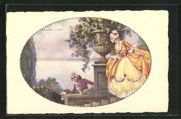 Künstler-AK Tito Corbella: Dame und junger Herr in Park, Barock, Rokoko
