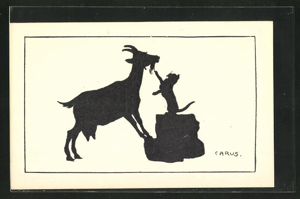 Künstler-AK Carus: Schattenbildkarten, Katze und Ziegenbock