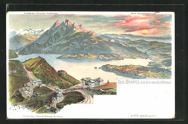 Künstler-Lithographie C. Steinmann: Rigi-Staffel, Totale mit Vierwaldstättersee