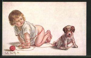 Künstler-AK K. Barth: Verwickelte Geschichte, Kleinkind und Hundewelpe