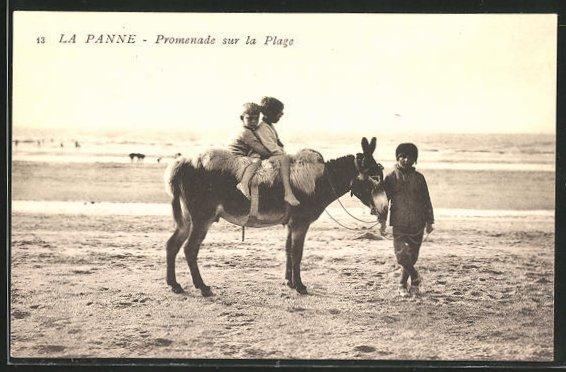 AK La Panne, Promenade sur la Plage, Maultier am Strand