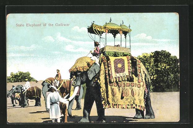 AK India, State Elephant of the Gaikwar, Elefant mit Mahut
