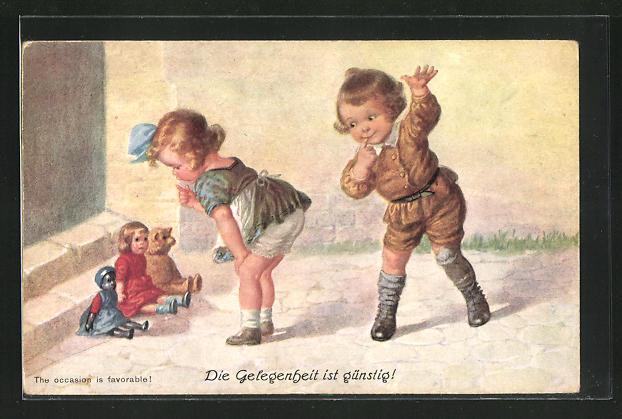 AK Mädchen spricht mit Teddy und Puppen