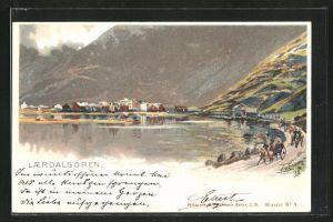 Künstler-AK Themistokles von Eckenbrecher: Laerdalsören, Partie am Fjord