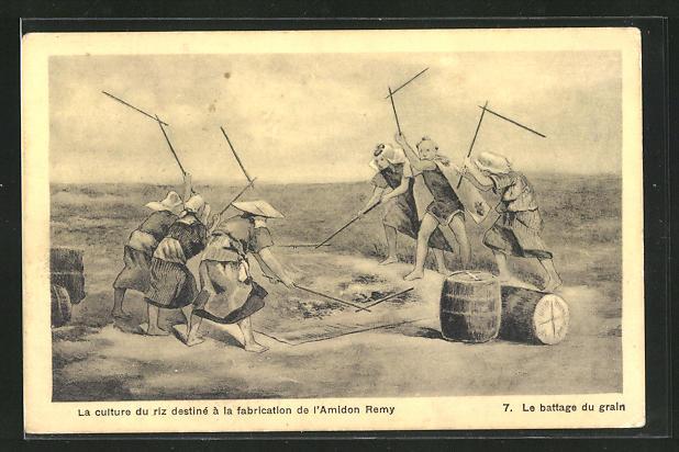 AK Asiatische Männer bei der Reisernte, Le battage du grain