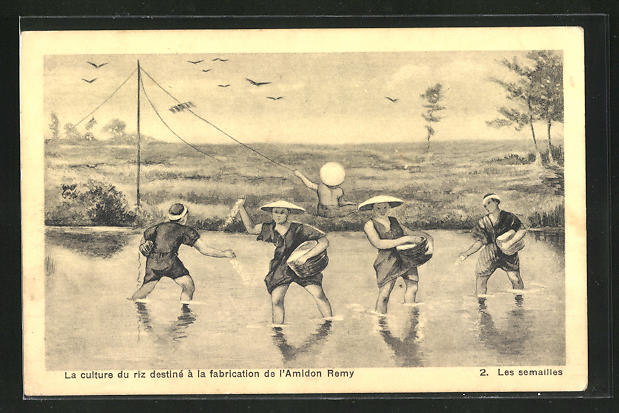 AK Asiatische Männer arbeiten auf den Reisfeldern