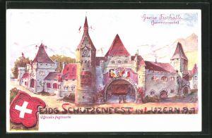 AK Luzern, Eid. Schützenfest 1901, Grosse Festhalle, Wappen