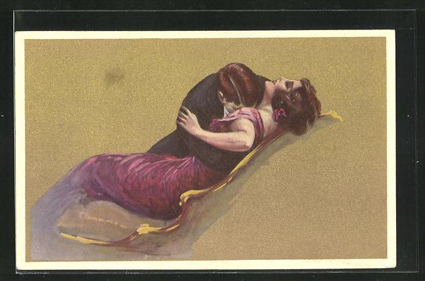 Künstler-AK Tito Corbella: Mann küsst Frau in rotem Kleid leidenschaftlich auf Brust