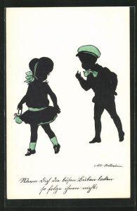 Künstler-AK Ov. Alt-Stutterheim: Junger Bursche lockt das Mädchen