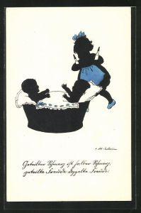 Künstler-AK Ov. Alt-Stutterheim: Mädchen bringt die Milchflaschen für die kleinen Geschwister