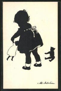 Künstler-AK Ov. Alt-Stutterheim: Mädchen spielt mit Puppe und Teddy