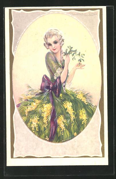 Künstler-AK Tito Corbella: Junge Frau im Rokokokostüm mit lila Schleife am Kleid
