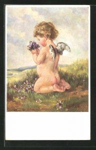 Künstler-AK K. Barth: Engel pflückt Blumen auf der Wiese