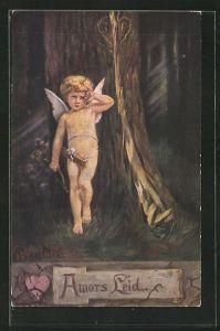 Künstler-AK K. Barth: Amor steht traurig im Wald
