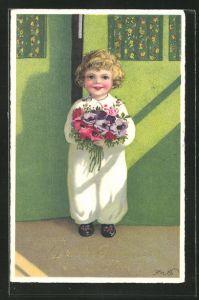 Künstler-AK Fritz Baumgarten: Kleiner Junge steht mit Blumenstrauss an der Tür, Glückwunsch zum neuen Jahre