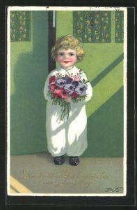 Künstler-AK Fritz Baumgarten: Goldiger Junge steht mit Blumenstrauss an der Tür, Neujahrsgrüsse