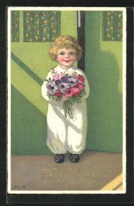 Künstler-AK Fritz Baumgarten: Junge steht mit Blumenstrauss an der Tür, Glückwunsch zum neuen Jahre