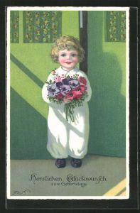 Künstler-AK Fritz Baumgarten: Junge steht mit Blumenstrauss an der Tür, Glückwunsch zum Geburtstag