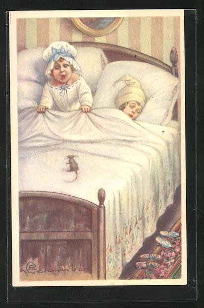 Künstler-AK E. Colombo: Mädchen erschrickt im Bett vor der Maus