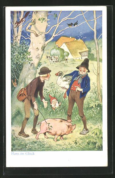 Künstler-AK Fritz Baumgarten: Hans im Glück trifft auf der Strasse einen Mann mit einem Schwein, Märchen