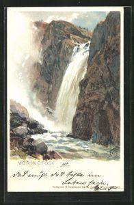 Künstler-AK Themistokles von Eckenbrecher: Norwegen, Vöringfos Wasserfall
