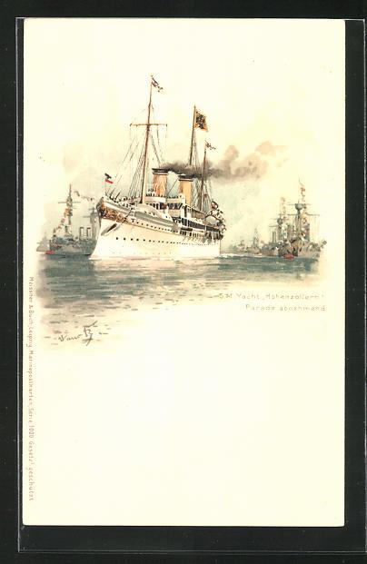Künstler-AK Hans Bohrdt: Kriegsschiff Hohenzollern nimmt die Parade ab