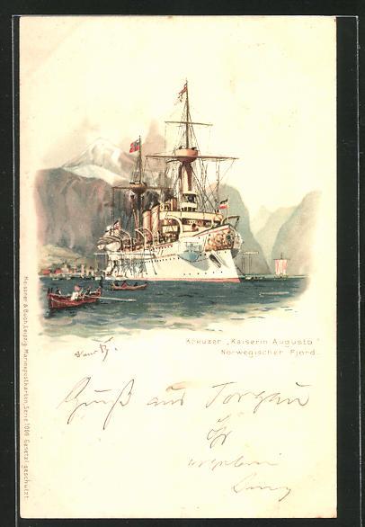 Künstler-AK Hans Bohrdt: Kreuzer Kaiserin Augusta unterwegs in einem norwegischen Fjord