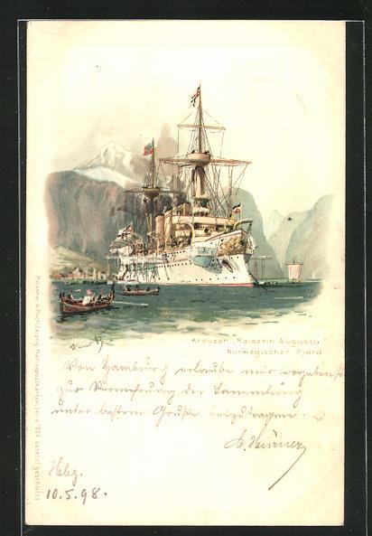 Künstler-AK Hans Bohrdt: Kreuzer Kaiserin Augusta auf Reede in einem norwegischen Fjord