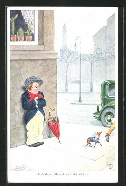 Künstler-AK Bert: Junge kauert an der Hausmauer und betrachtet das Hündchen der edlen Dame
