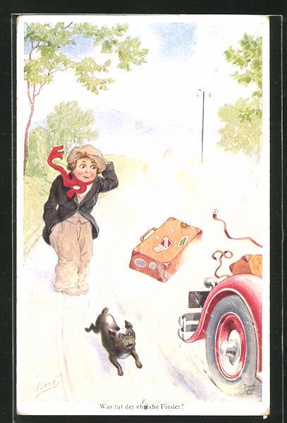 Künstler-AK Bert: Koffer fällt von dem vorbeibrausenden Auto
