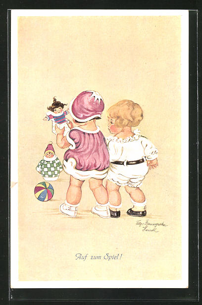 Künstler-AK Tilly von Baumgarten: Kinder spielen mit Ball und Puppen
