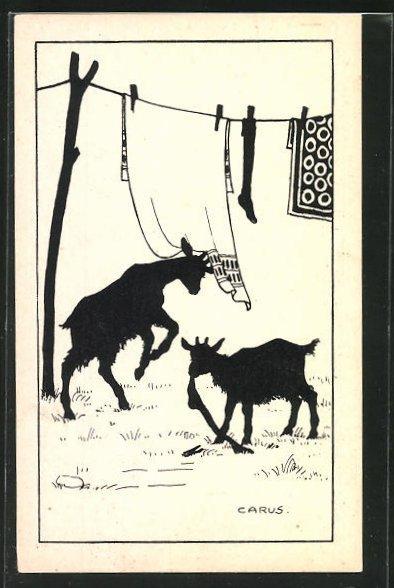 Künstler-AK Carus: Ziegen schnappen sich die Wäsche von der Leine