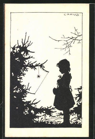 Künstler-AK Carus: Mädchen betrachtet die Spinne am Baum