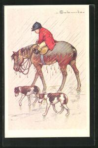 Künstler-AK E. Colombo: Junger Reiter kehrt mit Pferd und Hunden im Regen heim