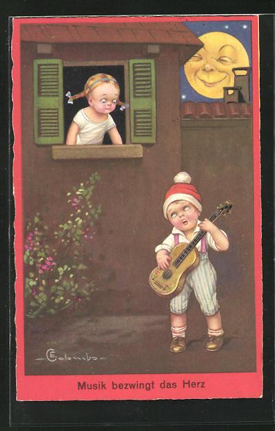 Künstler-AK E. Colombo: Junger Musikant bringt seiner kleinen Freundin ein Ständchen im Mondschein