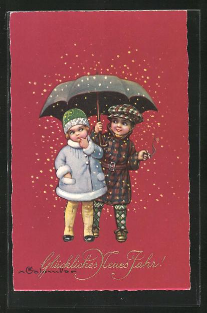 Künstler-AK E. Colombo: Kinder schützen sich mit einem Schirm vor dem Schnee, Glückliches Neues Jahr