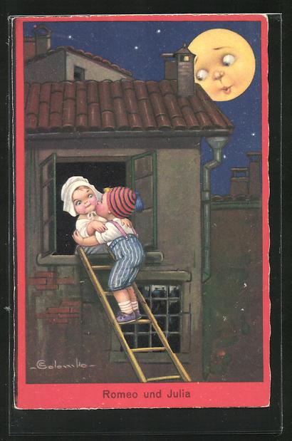 Künstler-AK E. Colombo: Junge fensterlt im Mondschein, Romeo und Julia