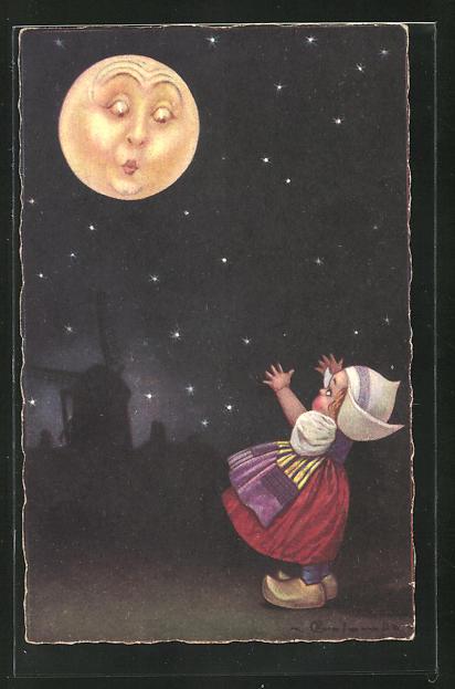 Künstler-AK E. Colombo: Kleines Mädchen mit weisser Haube und Holzschuhen ruft den Mond an