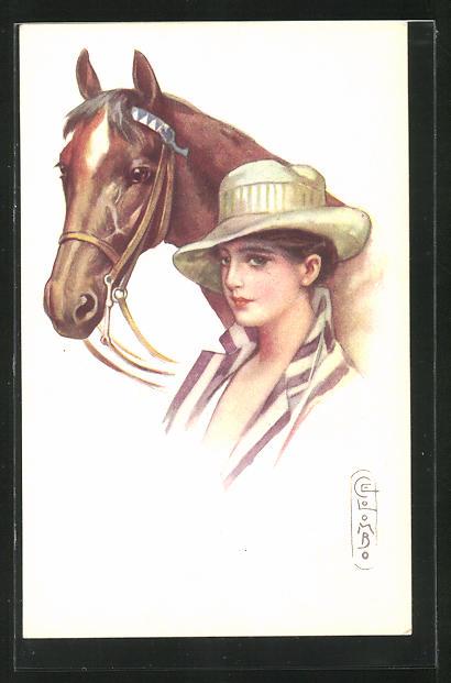 Künstler-AK E. Colombo: Junge Dame mit Pferd