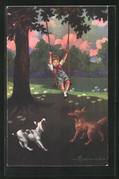 Künstler-AK E. Colombo: Junge sitzt auf der Schaukel und betrachtet ängstlich zwei Hunde
