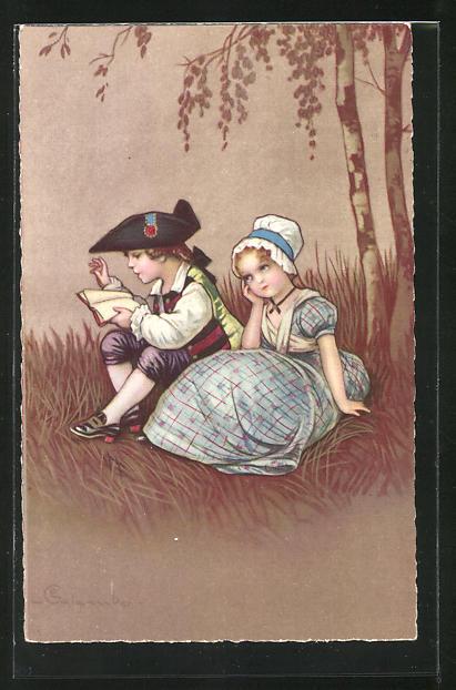 Künstler-AK E. Colombo: Junge liest seiner kleinen Freundin etwas vor