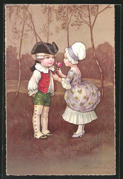 Künstler-AK E. Colombo: Junger Kavalier schenkt seiner Freundin eine rosa Rose